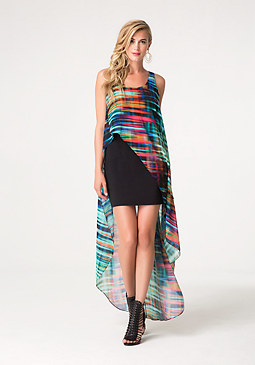 bebe Print Chiffon Hi-Lo Dress