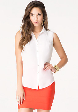 bebe Silk Shoulder Tuck Shirt