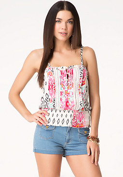 bebe Print Smocked Halter Top