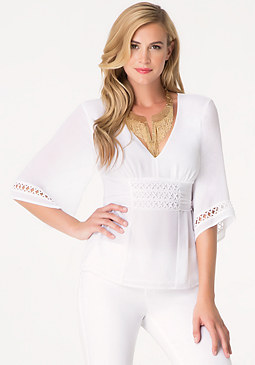 bebe Deep V Tie Back Top