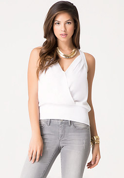bebe Banded Surplice Top
