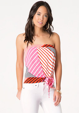 bebe Print Draped Front Tube Top