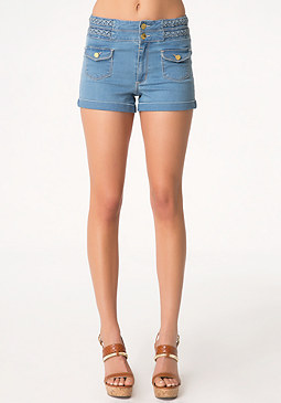 bebe Braided Stack Waist Shorts