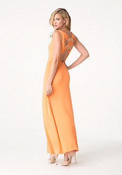 bebe Macrame Back Maxi Dress