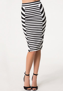 bebe Stripe Block Midi Skirt
