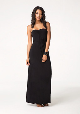 bebe Strapless Twist Back Dress
