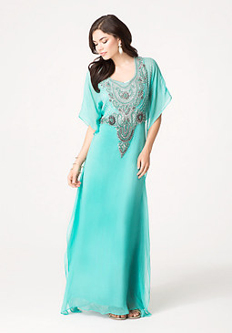 bebe Beaded Kaftan Dress