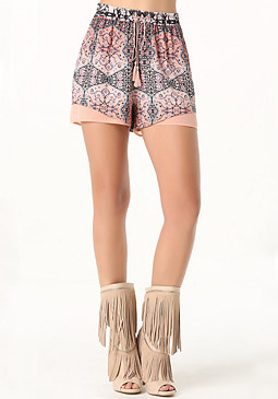 bebe Print Mix Fabric Shorts
