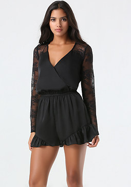 bebe Lace Inset Ruffle Romper
