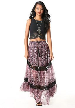 bebe Print Lace Inset Maxi Skirt
