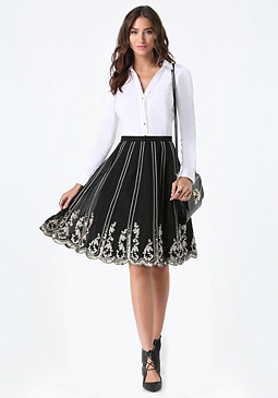 bebe Embellished Scalloped Skirt