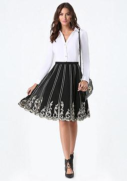 bebe Embellished Scalloped Skirt
