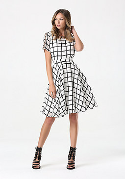 bebe Windowpane Circle Skirt