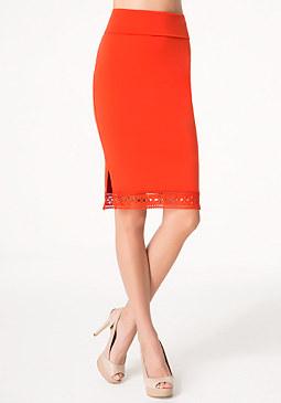 bebe Eyelet Trim Midi Skirt