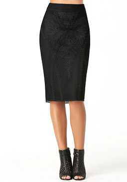bebe Net & Soutache Midi Skirt