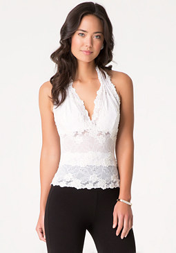 bebe Katherina Beaded Halter Top