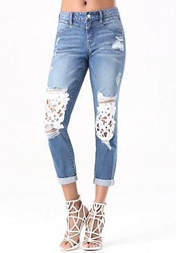 bebe Lace Repair Skinny Jeans