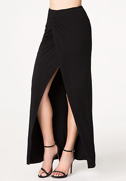 bebe Shirred Wrap Maxi Skirt