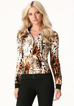 bebe Logo Cheetah Queen Hoodie