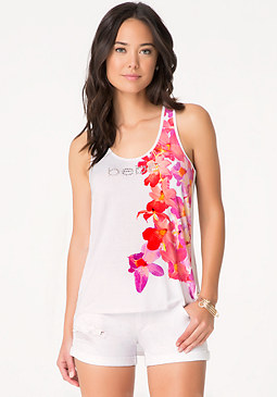 bebe Floral Graphic Tank Top