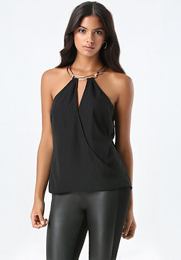 bebe Surplice Halter Top