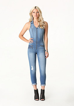 bebe Denim Zip Flight Suit