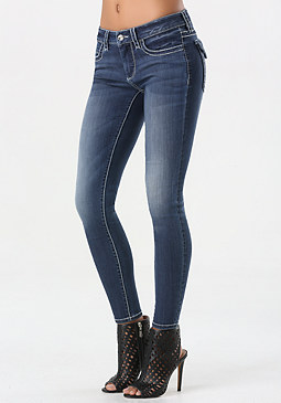 bebe Flap Pocket Skinny Jeans