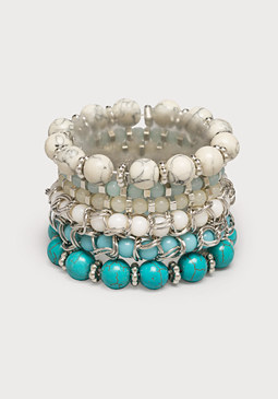 bebe Beaded Stretch Bracelet Set