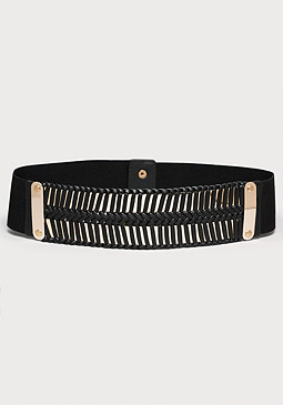 bebe Metal Plate & Braid Belt