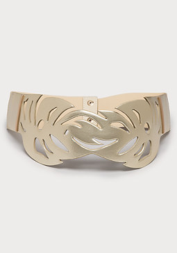 bebe Cutout Leaf Stretch Belt