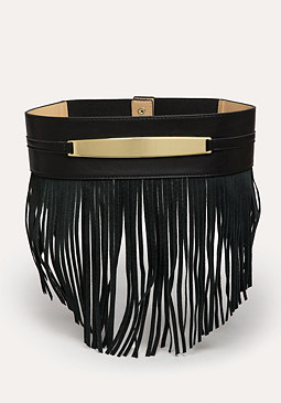 bebe Faux Suede Fringed Belt