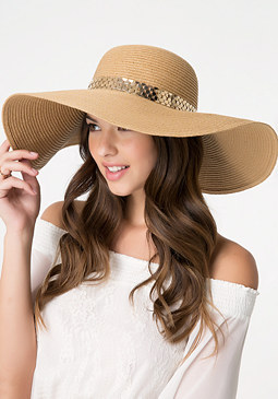 bebe Goldtone Band Floppy Hat