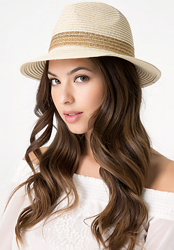 bebe Gold Band Panama Hat