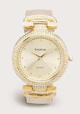bebe Leather Strap Bezel Watch