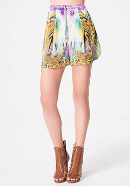 bebe Print Pleat Front Shorts