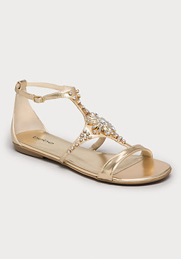 bebe Jaden Jeweled Flat Sandals