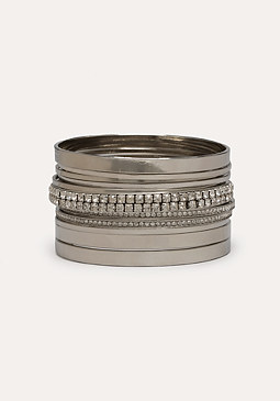 bebe Crystal & Metal Bangle Set