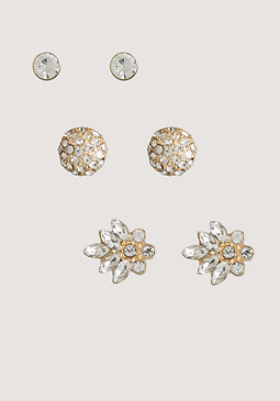 bebe Mixed Crystal Earring Set