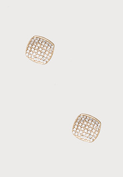 bebe Square Pave Stud Earrings