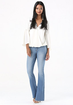 bebe Clean Front Flared Jeans