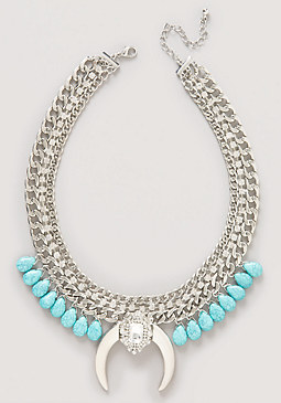 bebe Turquoise & Horn Necklace
