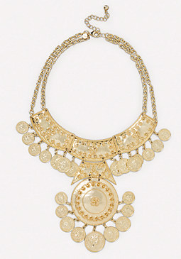 bebe Coin Medallion Bib Necklace