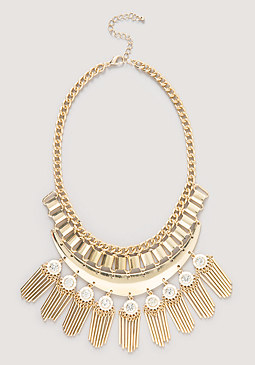 Metal Fringed Bib Necklace at bebe