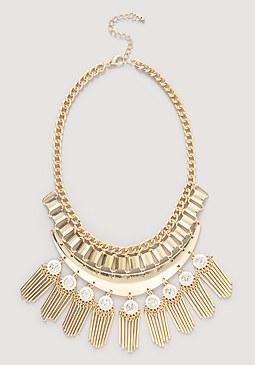 Metal Fringed Bib Necklace at bebe