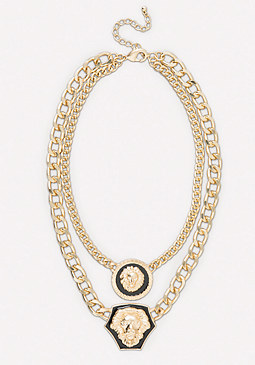bebe Double Lion Chain Necklace