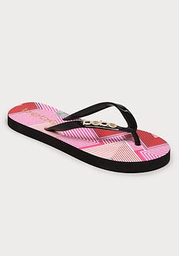 bebe Equator Stripe Flip Flops