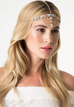 bebe Crystal & Chain Headpiece