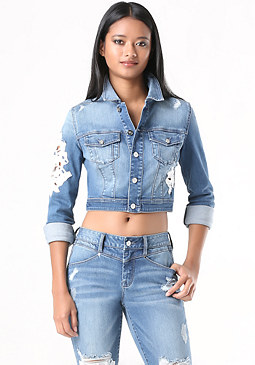 bebe Lace Repair Denim Jacket