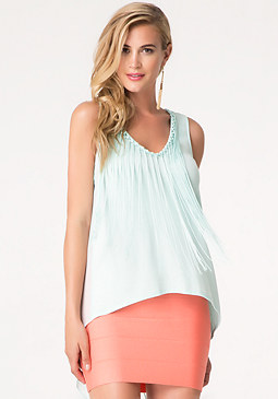 bebe Solid Fringed Neck Tank