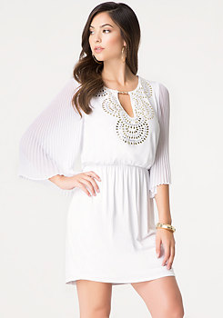 bebe Studded Pleat Sleeve Dress